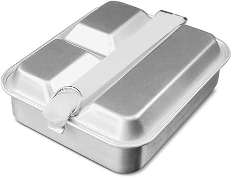 Lixada Fiambrera Camping Caja de Almuerzo Ligero Aluminio Recipiente de Comida Dividido 2 en 1 Bento de Comida: Amazon.es: Deportes y aire libre