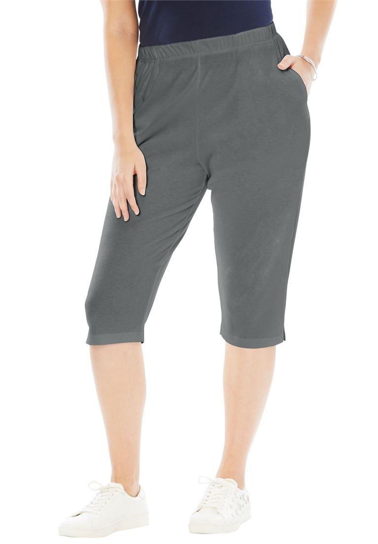 Roamans Women's Plus Size Soft Knit Capri