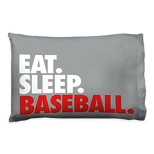 Eat Sleep Baseball Pillowcase | Baseball Pillows by ChalkTalk Sports | Gray