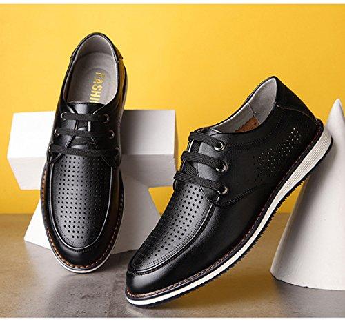 Confortable Loisir Outdoor Printemps Plat Poreuse à Lacet Respirent Hommes Noir Léger Microfibre Derby Chaussures Creux Été Feidaeu ZXwzRqYP