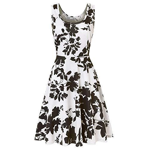 Alimao Dress for Womens Sleeveless Printing Floral Beach A Line Casual Dress ()