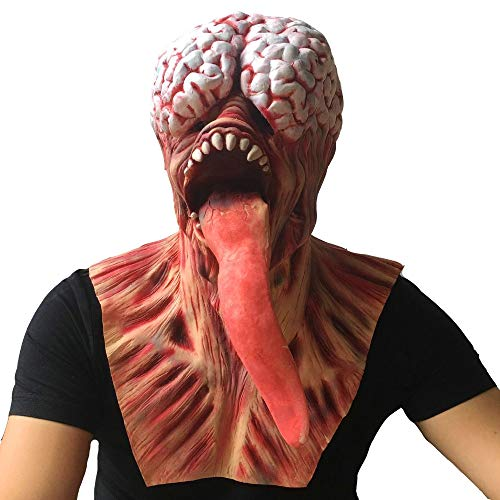 Matoen Scary Zombie Full Head Face Mask Halloween Horror Cosplay Costume (A, Red)