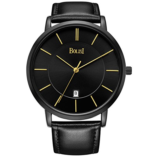 Bolisi Unisex All Black Minimalist Quartz Wristwatch Ultra Thin With Date And Milanese Mesh Band  Leather Gold