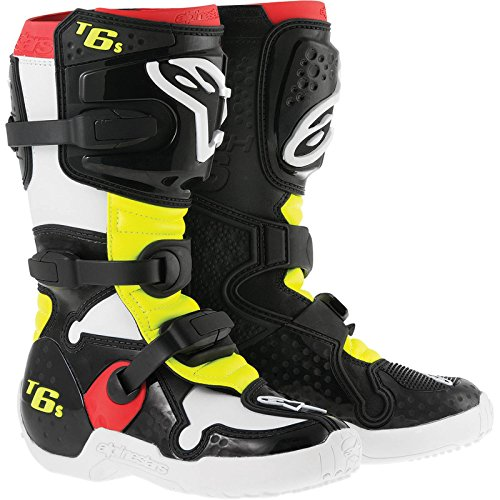 Alpinestars Tech 6S Boy's Off-Road Motorcycle Boots - Black/Red/Yellow / 4