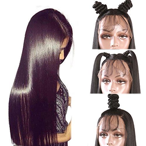Helene Glueless Lace Front Wigs Straight Realistic Looking Synthetic Heat Resistant Fiber Wig for Women with Baby Hair Black Color