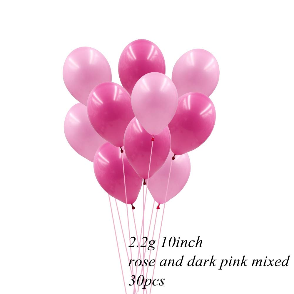 RUNFURU 30PCS 10Inch 3 Colors Balloons Team Bride Balloon for Home Wedding Party Decoration Bachelorette Party Supplies Dark Pink and Rose