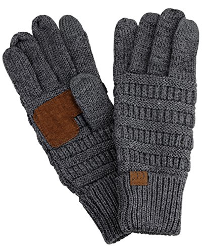 C.C Unisex Cable Knit Winter Warm Anti-Slip Touchscreen Texting Gloves, Dark Melange Gray - Knit Pull Cable