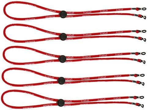 Perfk 5本入り2色選べ 眼鏡ホルダー 掛け紐 メガネ飾り コード 調節可 ネックストラップ スポーツ用