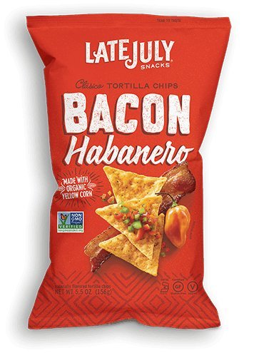 Late July Classico Tortilla Chips, Bacon Habanero, 5.5 oz, Pack of 6
