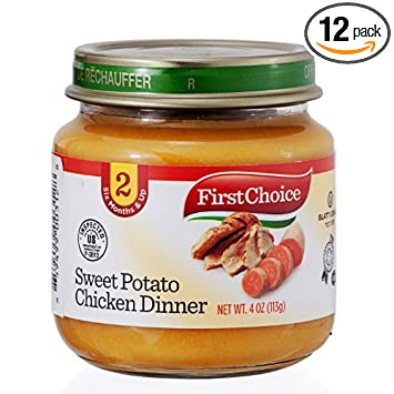 First Choice Baby Food Sweet Potato Chicken Dinner Stage 2 4 Oz 12