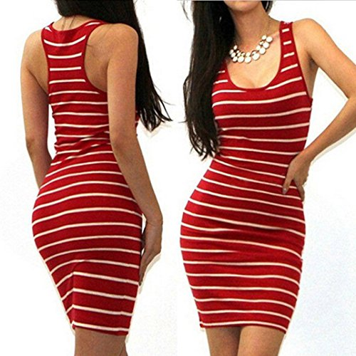 Hot Halloween Costume Party Pics (HOT SALE !Striped Mini Dress,BeautyVan Charming Comfortable Sexy Women Bandage Bodycon Sleeveless Striped Evening Party Short Mini Dress (M, Red))