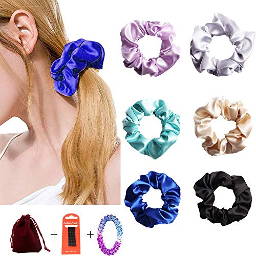 DINPREY Silk Hair Scrunchies,Solid color Traceless Hair Ties,Silk Satin Elastic Hair Tie,Vintage Hair Bands Ties for Women Girls,Elastic Hair Bobbles for Ponytail Holder (6 Colors A)