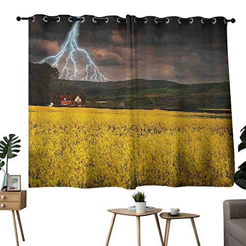 Window Curtain Fabric Nature,Thunderstorm over the Meadow Valley with Scary Dark Sky Rural Farm Scenery, Yellow Green Purple,Thermal Insulated Panels Home Décor Window Draperies for Bedroom -