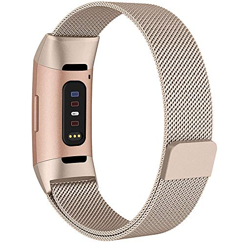 QIBOX Compatible Fitbit Charge 3 Bands, Woven Milanese Loop Stainless Steel Metal Replacement Strap Bracelet Magnetic Closure Clasp Compatible Fitbit Charge 3 SE Fitness Tracker (Champagne, Large)