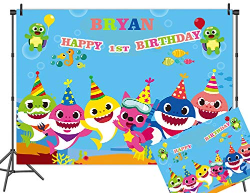 MC Vinyl Customized Baby Shark Family Theme Photography Backdrops for Baby Shower Baby Shark Birthday Decoration Photo Background Studio Props Banner]()