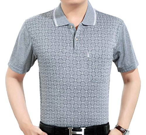Comaba Men's Original Fit Business Short-Sleeve Pique Polo Shirt Grey 2XL ()
