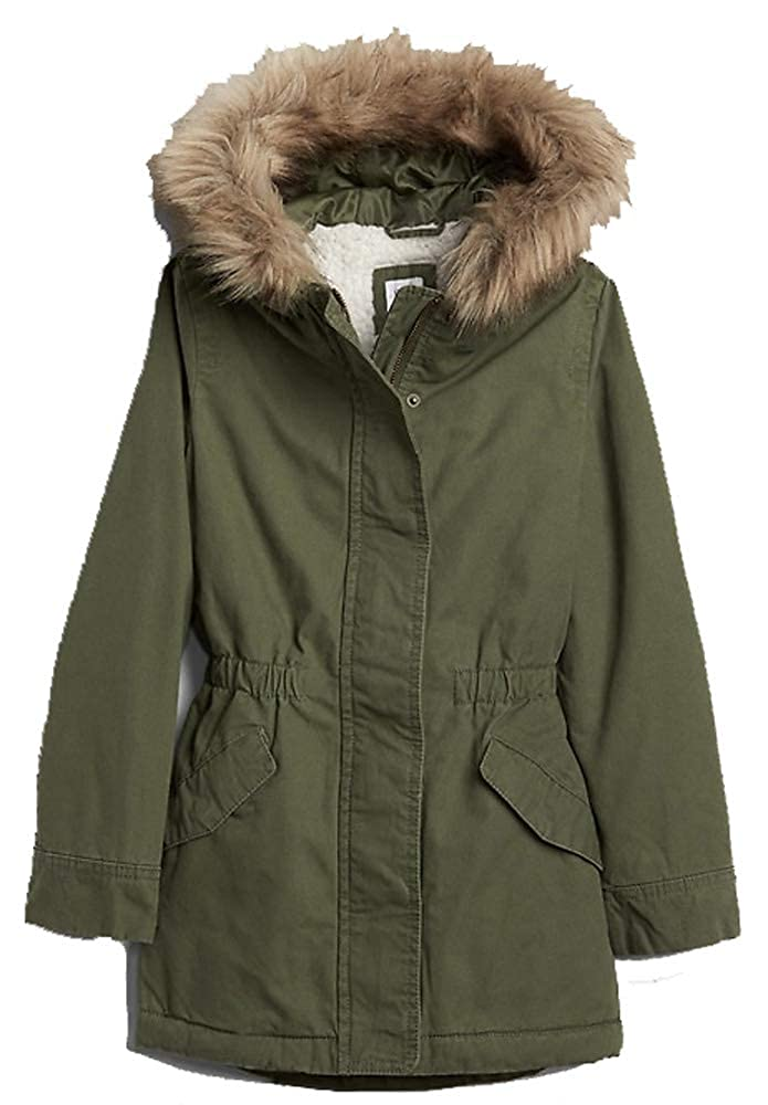 Gap Kids Factory Girls Army Green Sherpa-Lined Parka XS 4 5