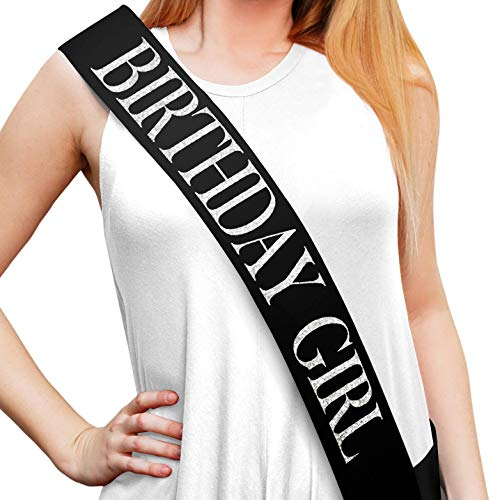 Sterling James Co. Birthday Girl Glitter Satin Sash - Happy Birthday Party Favors, Supplies and Decorations - Sweet 16 - 21st Birthday - Funny Birthday