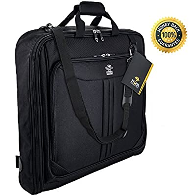 Zegur 40-Inch 3 Suit Carry On Travel Garment Bag With Adjustable Shoulder Strap and Multiple Organizer Pockets - Black