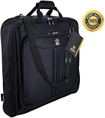 Zegur 40-Inch 3 Suit Carry On Travel Garment Bag With Adjustable Shoulder Strap and Multiple Organizer Pockets - Black