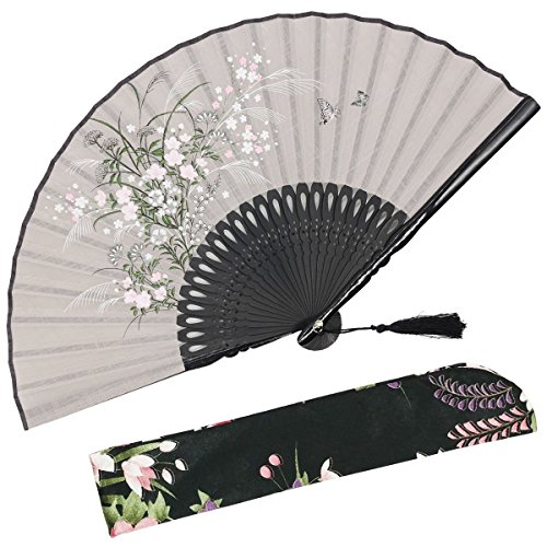 OMyTea Grassflowers 8.27(21cm) Hand Held Folding Fans - With a Fabric Sleeve for Protection for Gifts - Chinese/Japanese Vintage Retro Style (Gray)