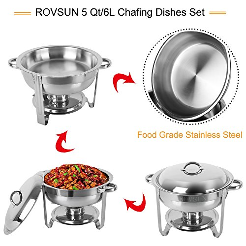 ROSVUN 5 Qt 2 Packed Full Size Upgraded Stainless Steel Chafing Dish Buffet Silver Round Catering Warmer Set with Food and Water Trays, Mirror Cover, Thick Stand Frame for Kitchen Party Banquet by ROVSUN (Image #2)