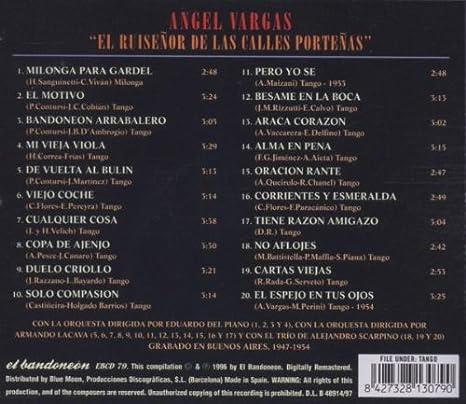 Angel Vargas - El Ruiseñor De Las Calles Porteñas - Amazon ...