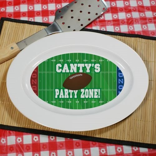 (Football Party Zone Personalized Platter, Ceramic,13