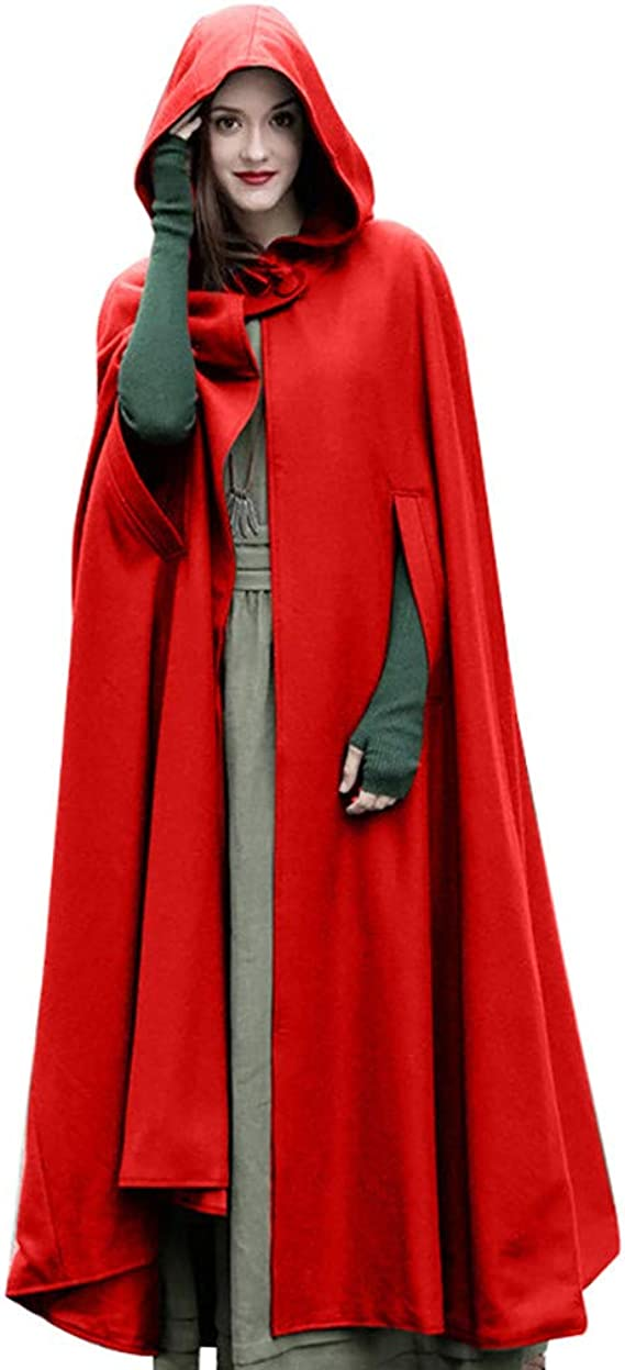 DONTAL Women Trench Open Front Cardigan Batwing Cape Wool Poncho Jacket Warm Cloak Coat with Hood