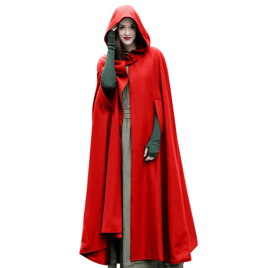 Opinionated Womens Hooded Maxi Coat Trench Robe Cloak Sleeveless Cosplay Costume Long Hoodie Cape Red by Opinionated