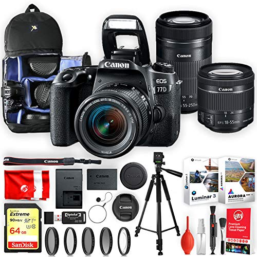 Canon EOS 77D 24.2MP 1080P WiFi DSLR Camera w/EF-S 18-55mm and EF-S 55-250mm f/4-5.6 is STM Lenses Pro Bundle – with 64GB Sandisk Memory, Backpack, Tripod, Pro Editing Software and More (20pc Total)