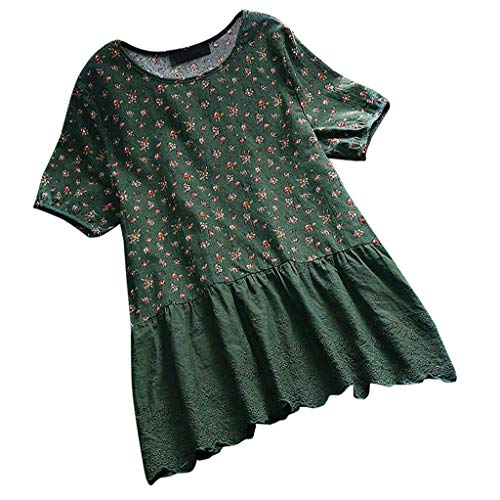 Wadonerful Cotton Linen Tops for Women,Floral Print T Shirt Short Sleeve Lace Shirt Splice Pullover Tops Green