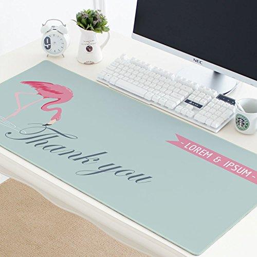 OFFICEPAD OverGrößed American Verdickt Wasserdicht Nähen Spiel Cartoon Nähen Mauspad Büro Computer Tastatur Rutschfeste Tischset, 40x90 cm, Schöne Flamingo 7
