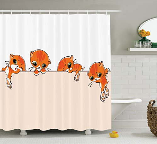 Cat Lover Decor Shower Curtain Set By Ambesonne, Banner With Little Kitties Felines Over Jumping The Walls Free Artful Design, Bathroom Accessories, 69W X 70L Inches, Orange Cream White (Design Banner Free)
