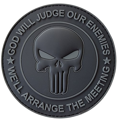 LEGEEON All Black GOD Will Judge Our Enemies Punisher Skull Subdued DEVGRU Navy Seals PVC Hook-and-Loop Patch