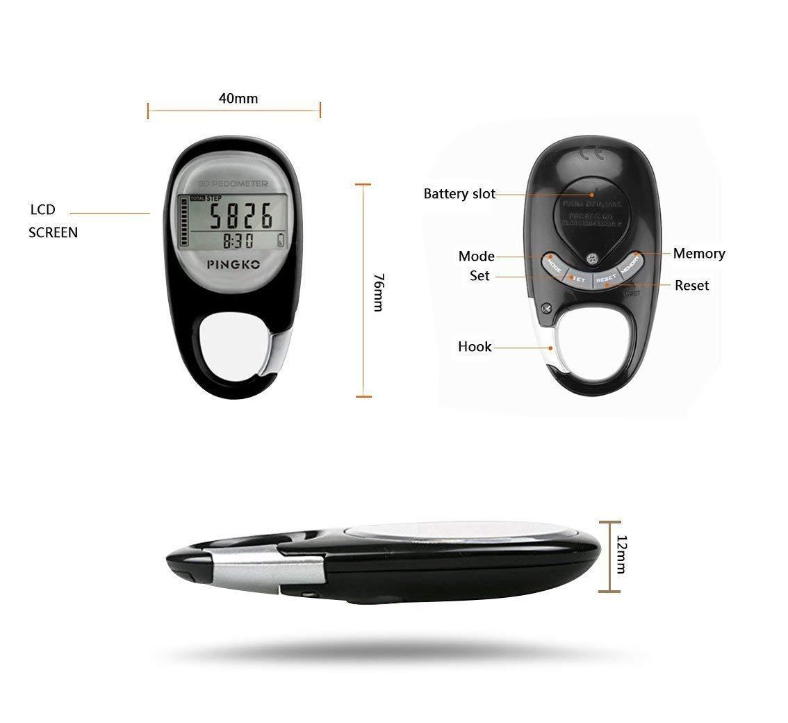 Pingko Podómetro 3D Con Mosquetón Rastreador De Ejercicios: Amazon.es: Deportes y aire libre