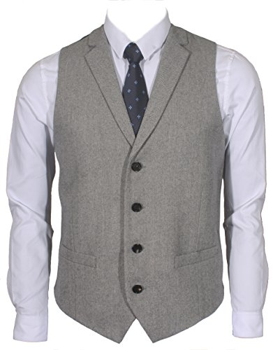 (Ruth&Boaz 2Pockets 4Buttons Wool Herringbone/Tweed Tailored Collar Suit Vest (S, Herringbone grey))