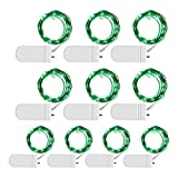 [10-Pack] LED String Lights, 6.6FT LED Moon Lights 20 Led Micro Lights On Silver Copper Wire (Batteries Include) for DIY Wedding Centerpiece, Table Decoration, Party (Green)