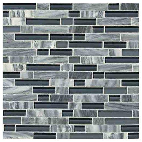 Daltile SA58RANDMSP Stone Radiance - Random Linear Mosaic Wall Tile - Textured V, Glacier Gray Marble Blend