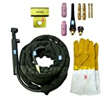 WeldingCity TIG Welding Torch WP-26V-25R (Gas-Valve Head) Complete Ready-to-Go Package Air-Cool 25-foot Cable 200Amp w/Gift