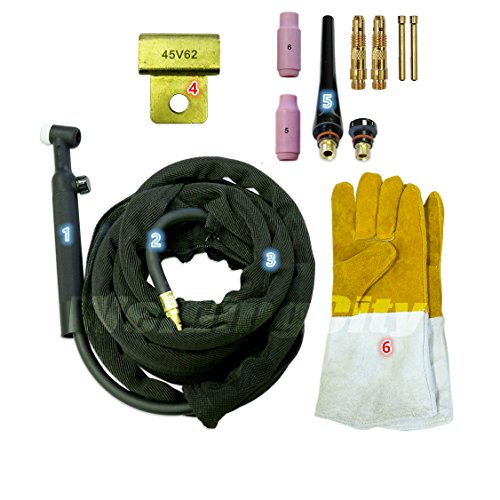WeldingCity WP-26FV-25R Complete Ready-to-Go Package Flex-Head Gas-Valve 25' 200Amp Air-Cooled TIG Welding Torch