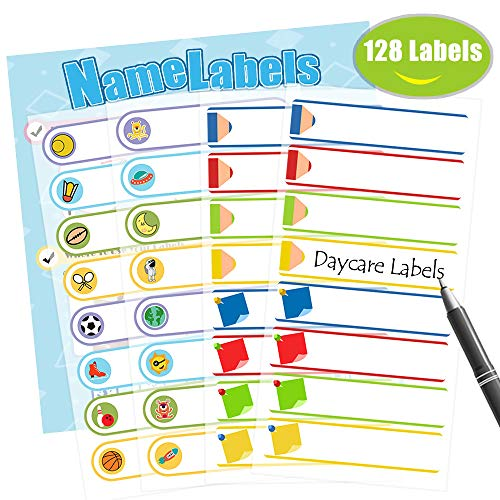 (Baby Bottle Labels,Waterproof Stickers, Write-On Self-Laminating Name Labels for Daycare,School,Travel 128 Labels)