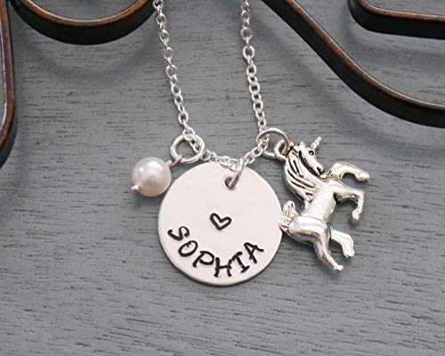 1913f9832a9b Unicorn Necklace - Personalized Unicorn Necklace - Name Necklace - Unicorn  Jewelry - Silver - Girls Unicorn Necklace - Unicorn Name Necklace - Custom  ...