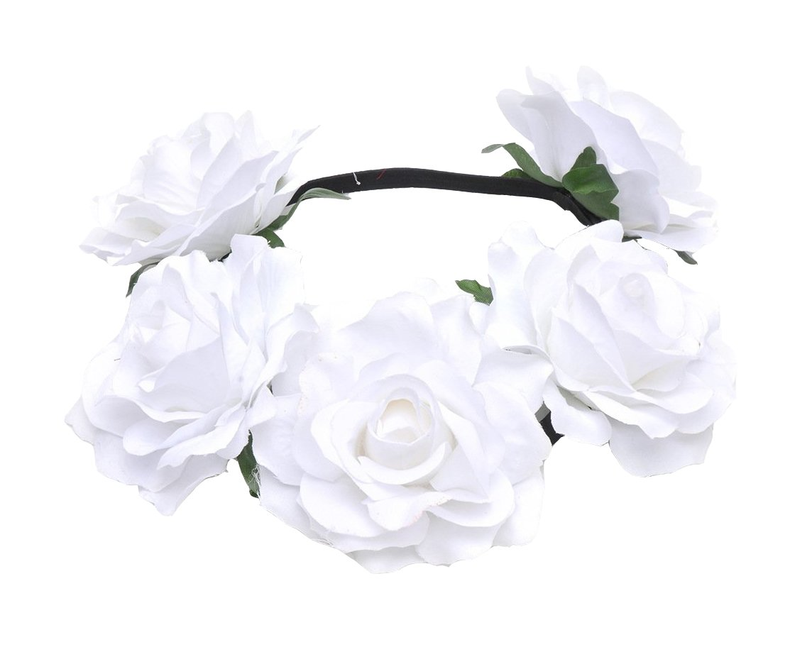 Merroyal Women's Hawaiian Stretch Flower Headband for Garland Party