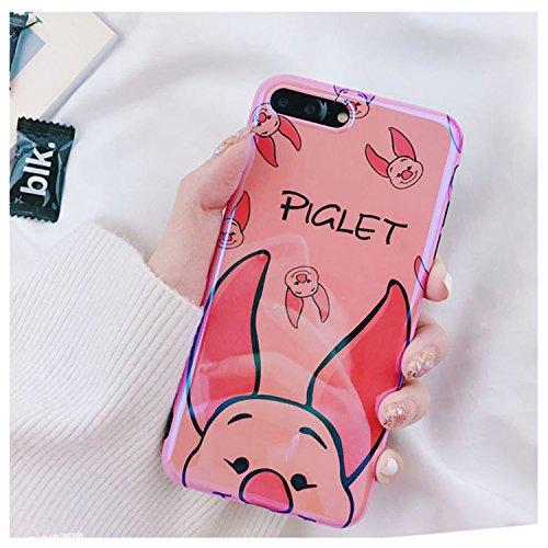 (Ultra Slim Soft TPU Yellow Winnie The Pooh Bear Pink Piglet Case for iPhone 7Plus 8Plus 7+ 8+ Shockproof Bling Glitter Shiny Smooth Disney Cartoon Cute Lovely Stylish Cool Girls Women Teens Kids)