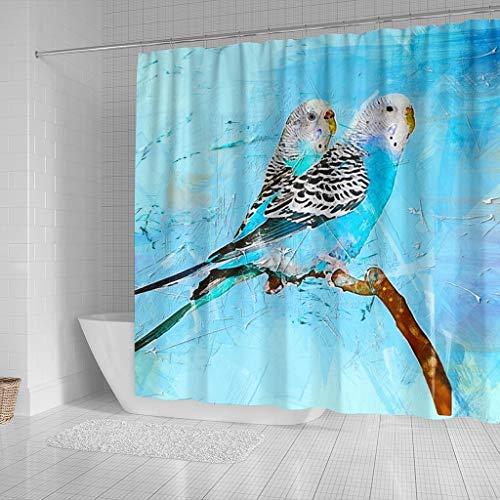 Blue Budgie Parrot (Common Parakeet) Print Shower Curtains by Pawzglore (Image #1)