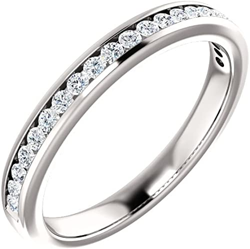 Jewels By Lux 14k White Gold Polished Wedding Ring Band
