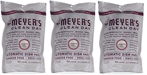 MRS MEYERS Automatic Dish Packs, Lavender, 20 Count (Pack of 3) (3-(Pack of 3)) by Mrs. Meyers