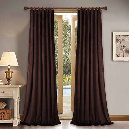 Chestnut Living Room - Rod Pocket Velvet Blackout Drapes - Thick Heavy Duty Super Smooth Luxury Velvet Curtains Soundproof Thermal Insulated Window Treatments for Home Decoration Livingroom, Chestnut, 2 Pieces, 52 x 84 inch