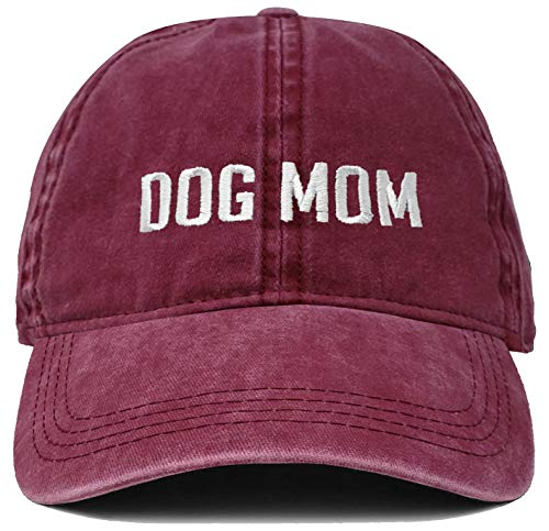 H-214-DM64-BL Dad Hat Unconstructed Baseball Cap: Dog Mom Block Letters, ()